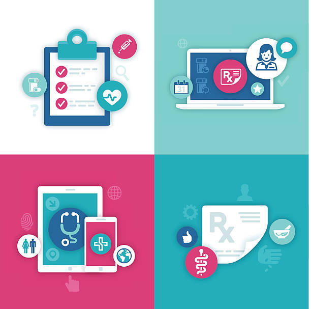 illustrazioni stock, clip art, cartoni animati e icone di tendenza di informazioni sanitarie simboli - scheda clinica