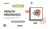 Health Insurance Concept. Geometric Retro Style Banner and Poster Concept with Health Insurance icon