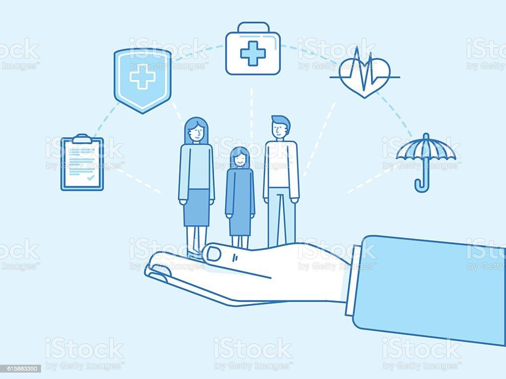 Health insurance concept - illustration and infographics design vector art illustration