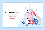 Health insurance concept illustrations, healthcare and medical services banner, perfect for web design, banner, mobile app, landing page, vector flat design