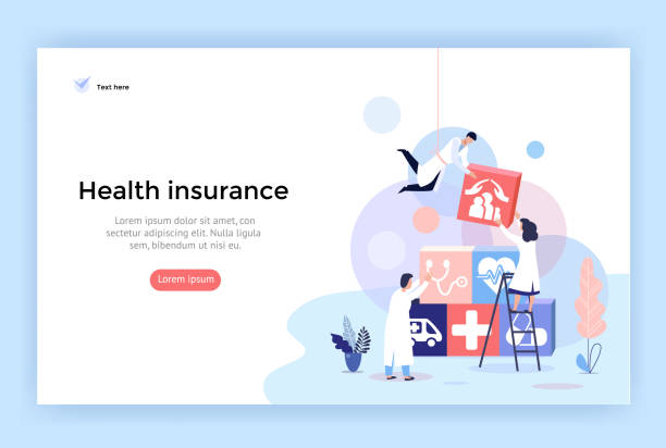 Health insurance concept illustrations. Health insurance concept illustrations, healthcare and medical services banner, perfect for web design, banner, mobile app, landing page, vector flat design well structure stock illustrations