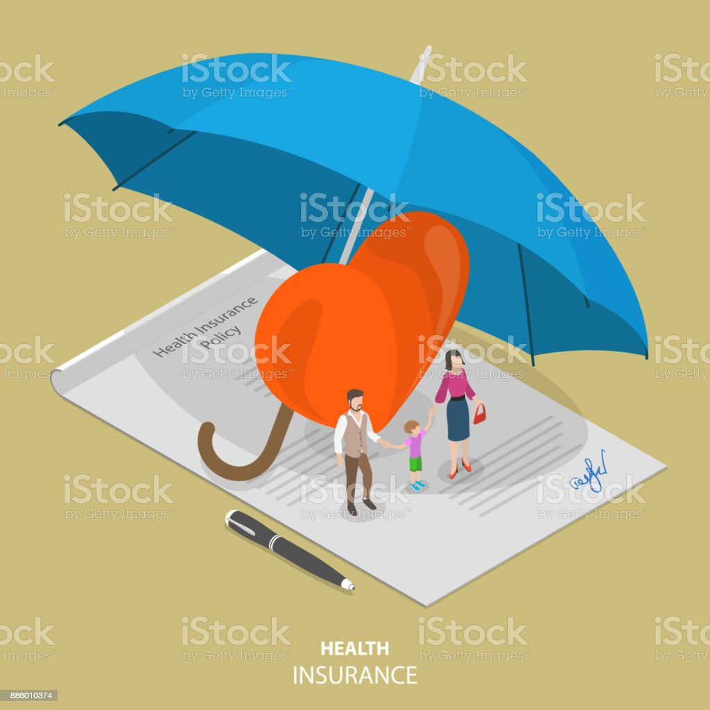 Health insurance flat isometric vector concept