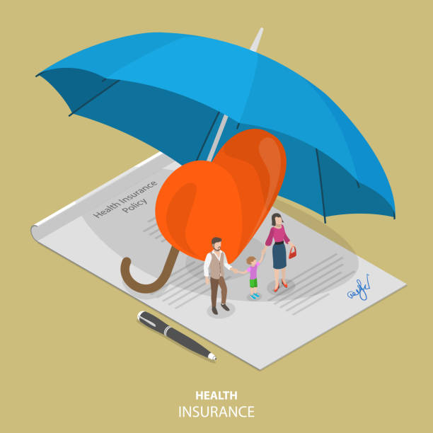 illustrazioni stock, clip art, cartoni animati e icone di tendenza di health insurance flat isometric vector concept - assicurazione