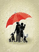Health Insurance! A stylized vector cartoon of an umbrella and a Family. Suggesting  - health, health insurance, insurance, protection, safety, love. Umbrella, Family, Tint. Rain, paper texture and background are on different layers for easy editing. Please note: This is an eps10 illustration. Multiply transparency used on layer Tint and shadow, clipping paths have been also been used, an eps 8 version is included without the path and transparency.