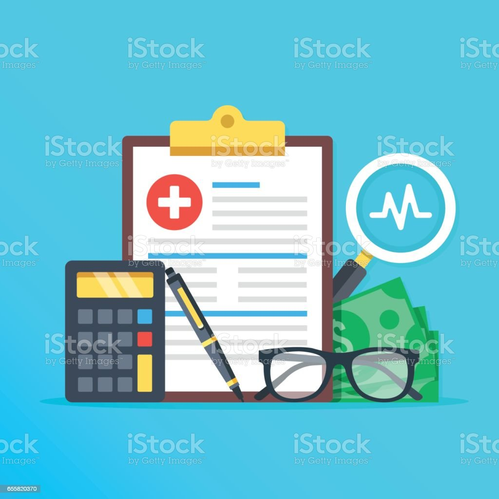 Health insurance, healthcare concept. Health insurance form, calculator, pen, glasses, money, magnifier flat design graphic elements, flat icons set. Vector illustration vector art illustration