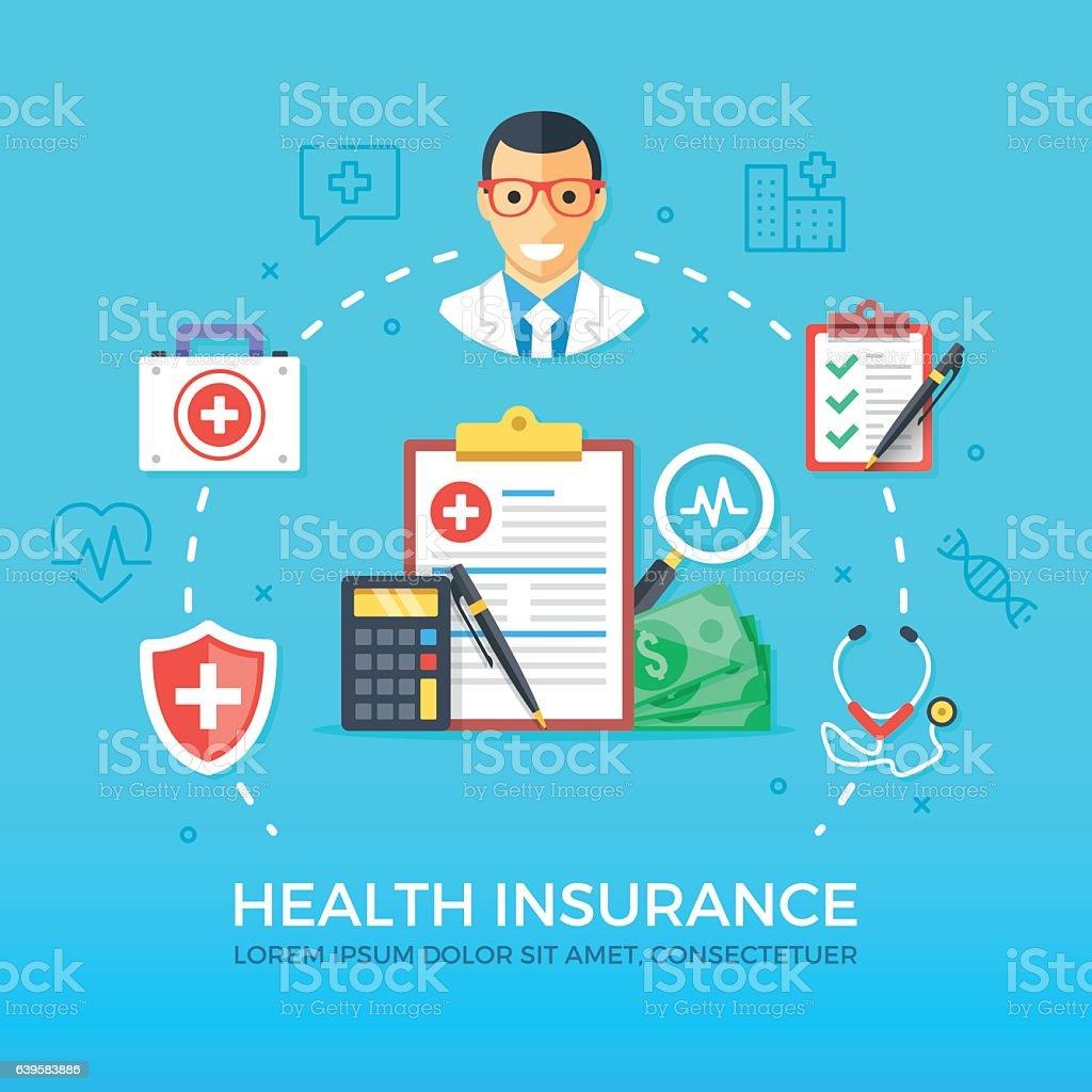Health insurance. Healthcare, medicine concepts set. Flat design vector illustration vector art illustration
