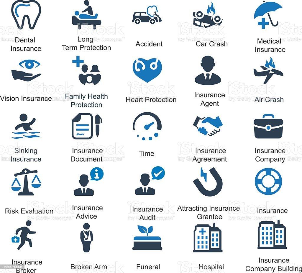 Health Insurance Icons Blue Series Stock Vector Art 639070906