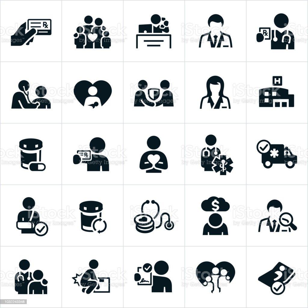 Health Insurance Icons - arte vettoriale royalty-free di Accordo d'intesa