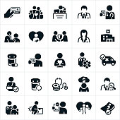A set of health insurance icons. The icons include insurance, insurance card, family, insurance agent, receptionist, doctor, prescription, check-up, newborn, agreement, hospital, medication, prescription card, healthcare professional, ambulance, broken arm, cost, debt, doctor search, injury and hospital bed to name a few.