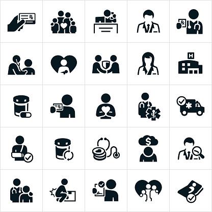 Health Insurance Icons - Immagini vettoriali stock e altre immagini di Accordo d'intesa