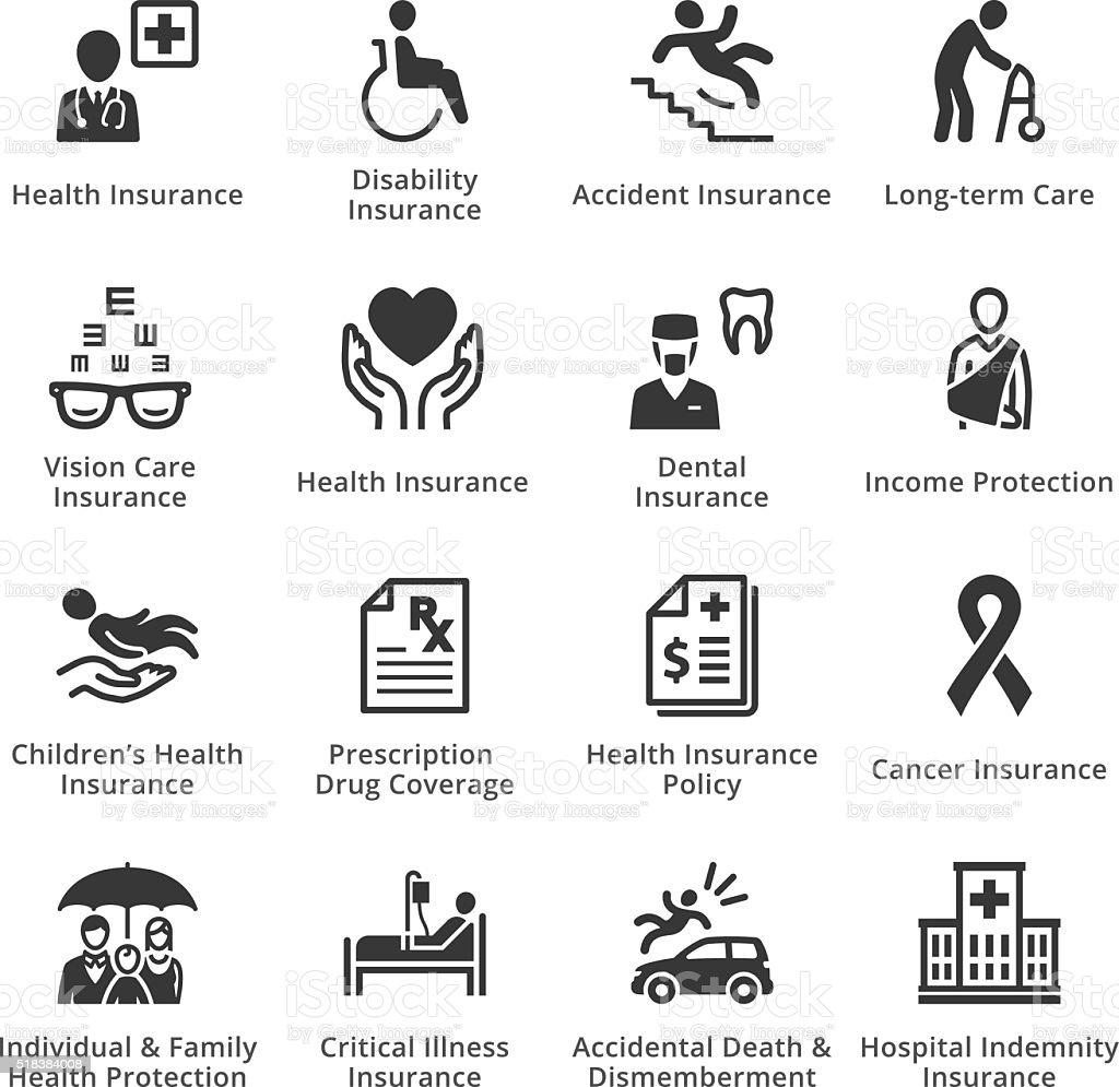 Health Insurance Icons vector art illustration