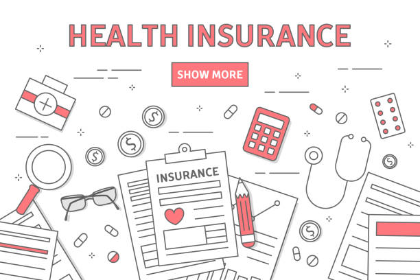 stockillustraties, clipart, cartoons en iconen met ziektekostenverzekering lijn illustratie. - snavel