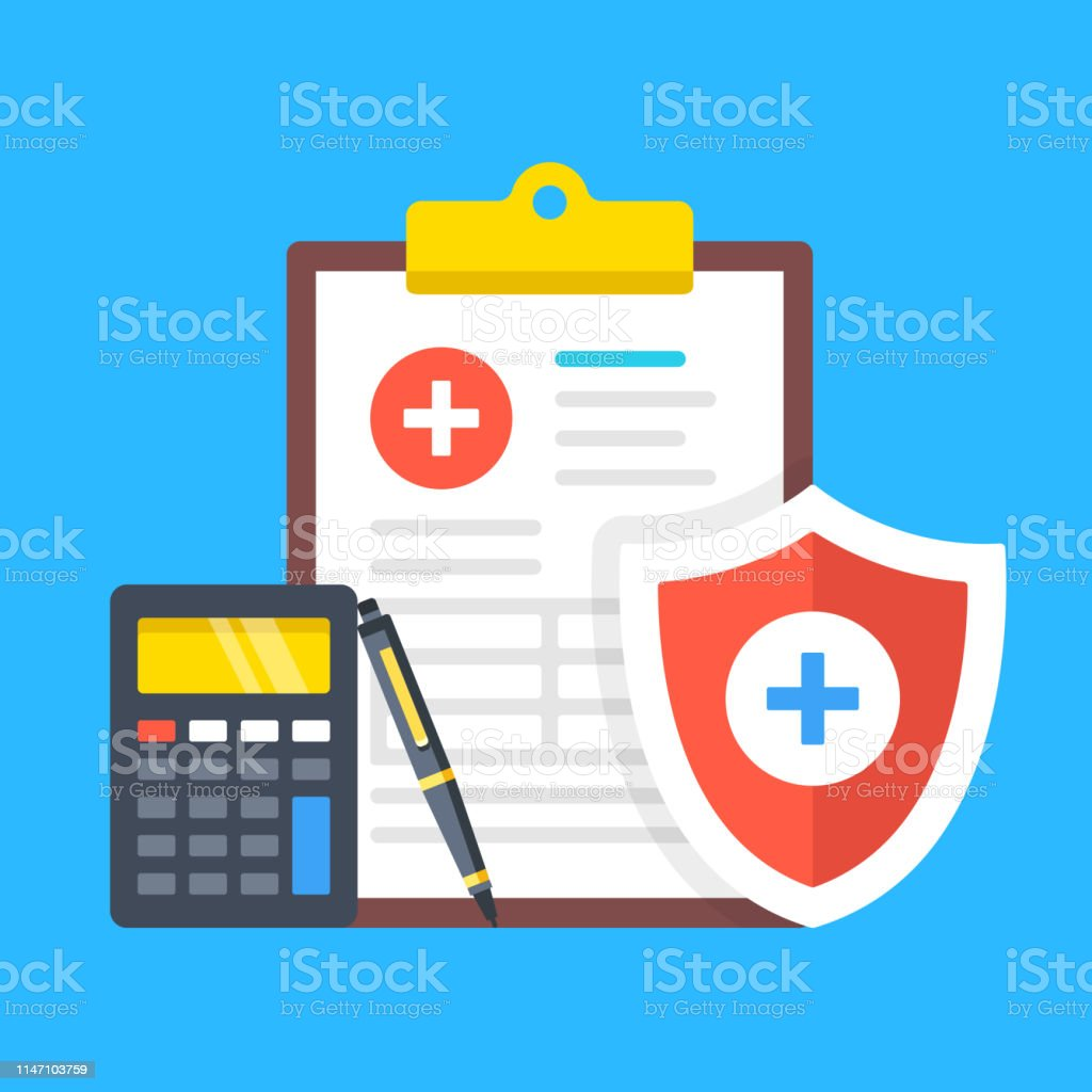 Health insurance, medical insurance. Clipboard with medical document,...