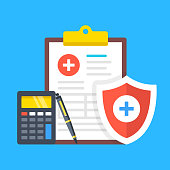istock Health insurance, medical insurance. Clipboard with medical document, calculator, pen and shield with cross. Flat design. Vector illustration 1147103759