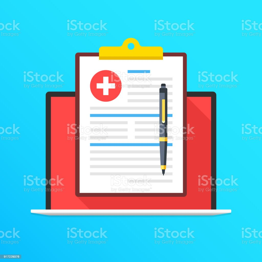 Health insurance on laptop screen. Notebook and clipboard with medical record and pen. Online document. Filling application form concepts. Modern long shadow flat design graphic elements. Vector illustration vector art illustration
