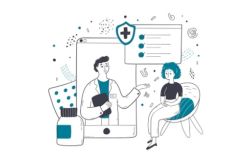 Health insurance, online medicine, consultation concept
