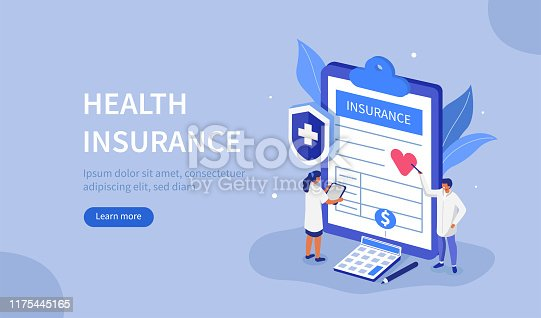 Doctors Characters stand near Health Insurance Contract. Staff in Hospital Office filling Medical Document Form. Health care Concept. Flat Isometric Vector Illustration.
