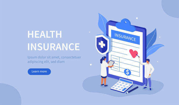 health insurance Doctors Characters stand near Health Insurance Contract. Staff in Hospital Office filling Medical Document Form. Health care Concept. Flat Isometric Vector Illustration. insurance stock illustrations
