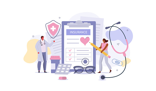 Doctor and Patient in Hospital Office filling Health Insurance Contract. Near lying Medical Pills, Capsules, Stethoscope and other Medical Staff. Healthcare Concept. Flat Cartoon Vector Illustration.