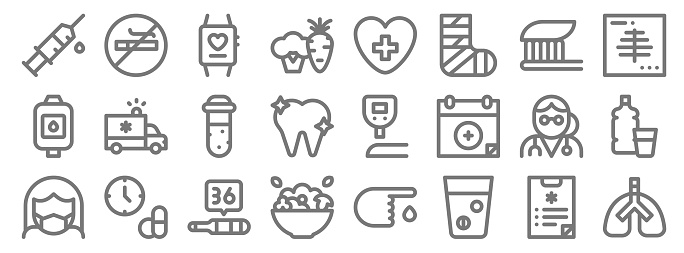 health line icons. linear set. quality vector line set such as lungs, pills, salad, medical mask, doctor, test tube, x ray, health, no smoking