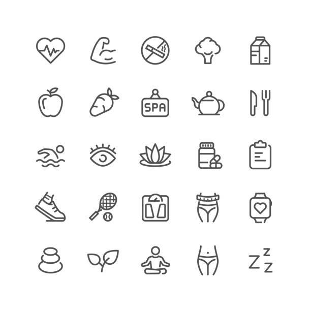 zestaw ikon linii kondycji - wellness stock illustrations