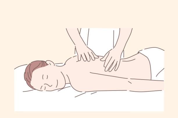 illustrazioni stock, clip art, cartoni animati e icone di tendenza di health, massage, spa treatment, relax concept. - impastare
