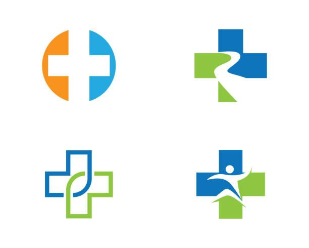 ilustraciones, imágenes clip art, dibujos animados e iconos de stock de plantilla de logotipo médico de salud - logos de médico
