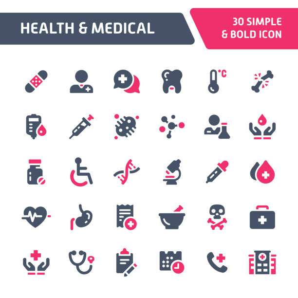 health & medical vector icon set. - health stock illustrations