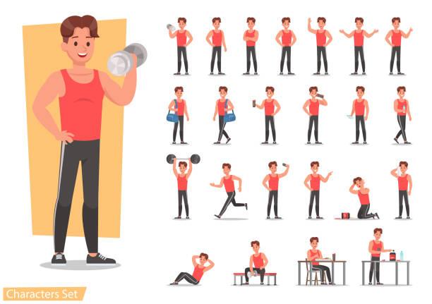 bildbanksillustrationer, clip art samt tecknat material och ikoner med hälsa män utövar design teckenuppsättning. vektor design. - strenght men