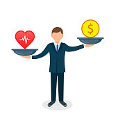 Health or money vector illustration. Heart versus money on scales. Businessman balances Health and coin concept. Vector