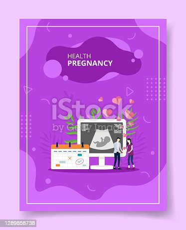 health pregnancy people couple standing front usg screen for template of banners, flyer, books cover, magazines