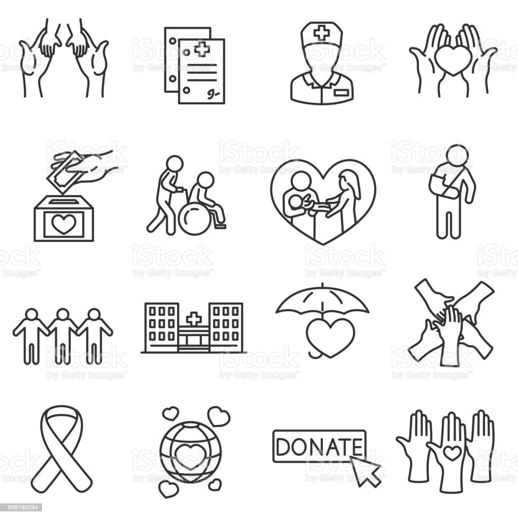 Health protection icons set. vector art illustration