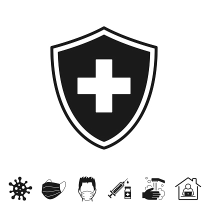 Health protection shield. Trendy icon isolated on white and blank background for your design. Includes 6 popular icons: - Coronavirus cell (COVID-19), - Medical or surgical face mask, - Man in medical face protection mask, - Vaccination - Syringe and vaccine vial, - Washing hands with soap and water, - Work from home. Vector Illustration (EPS10, well layered and grouped), easy to edit, manipulate, resize or colorize. And Jpeg file of different sizes.