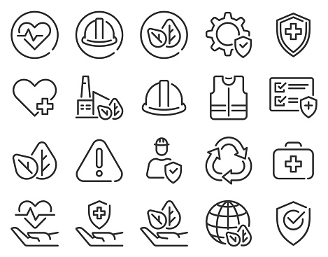 Health safety environment icons. Occupational security preventive, medical insurance, air pollution protection warning hazard, vector set