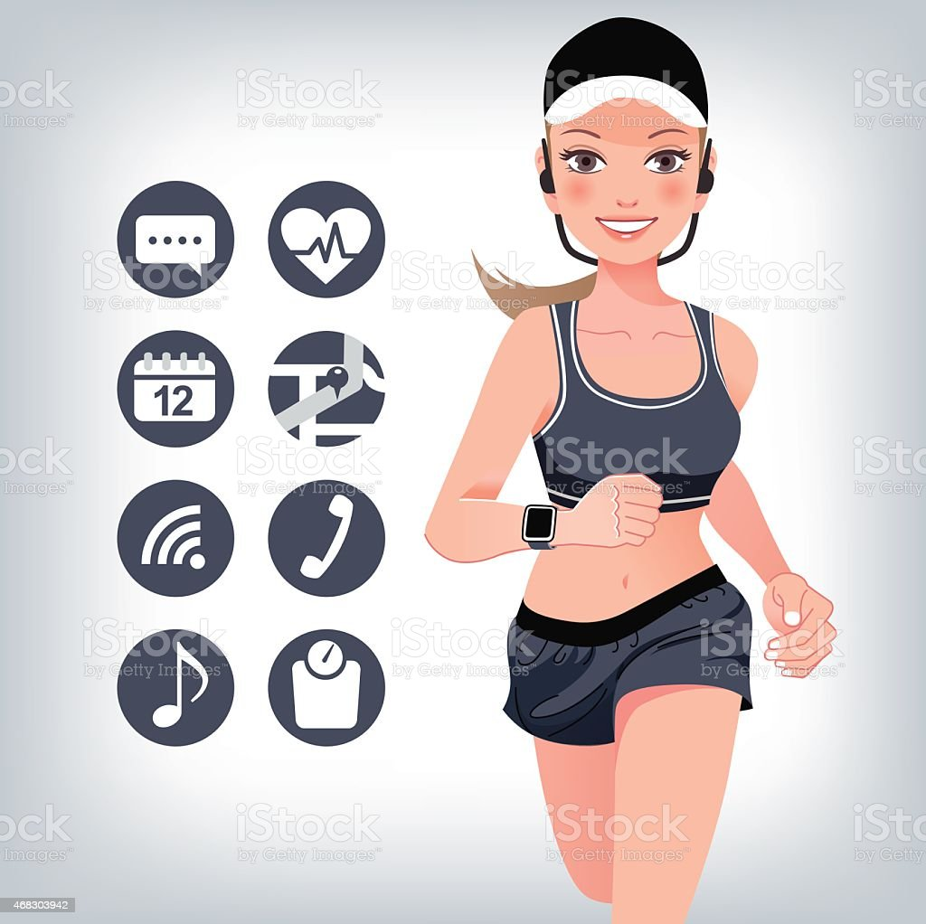 Health sport young woman running with smart watch device vector art illustration
