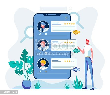 E Health Staff Rating Mobile App Illustration. Smartphone Application User Analyzing Hospital Personnel Ranking Cartoon Character. Innovative Doctors Evaluation System. Telehealth Digital Software