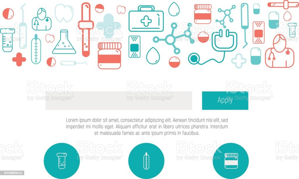 health web design template with thin line icons doctor app digital