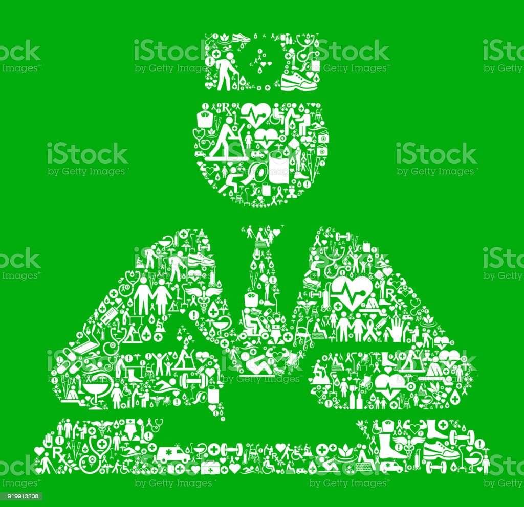 Health Worker Green Medical Rehabilitation Physical Therapy vector art illustration