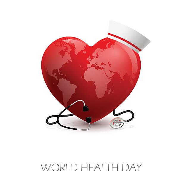 Health_day Vector illustration of heart stethoscope and medical headdress. World Heart Day world health day stock illustrations