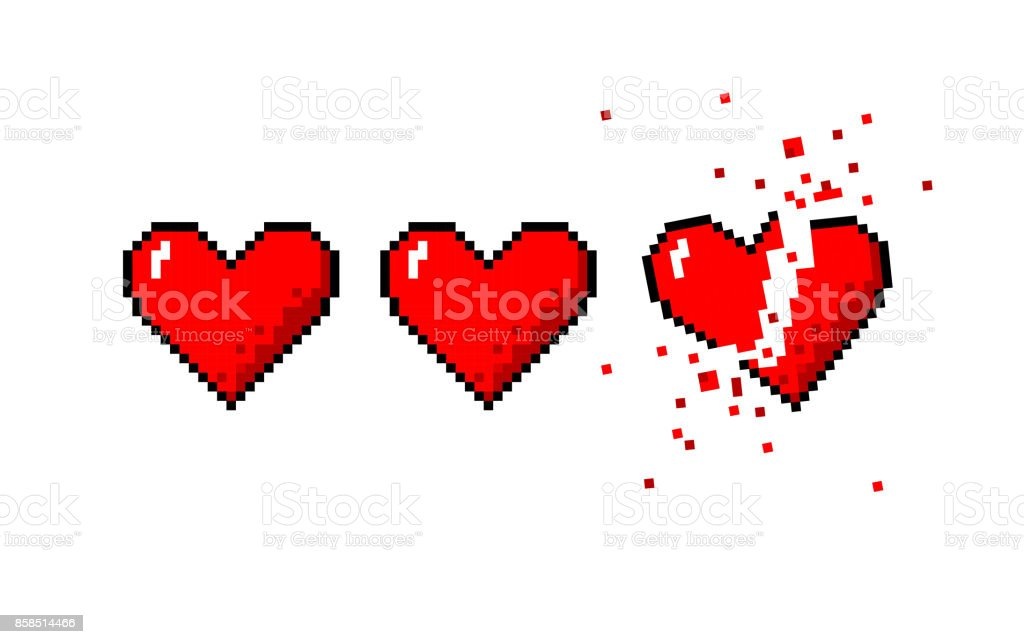 Healthbar of hearts and one broken heart vector art illustration