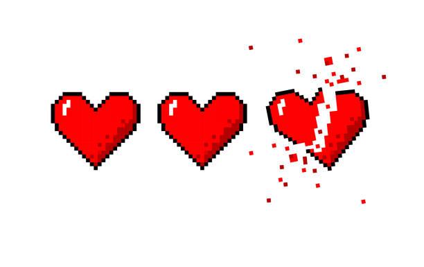 stockillustraties, clipart, cartoons en iconen met gezondheidsbalk van hart en een gebroken hart - liefdesverdriet