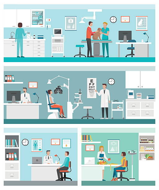 healthcare and clinics - doctors office stock illustrations, clip art, cartoons, & icons