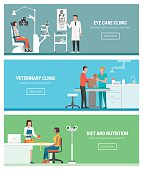 Healthcare and clinics banners set: optician and eye examination, veterinary animal clinic and dietitian with patient