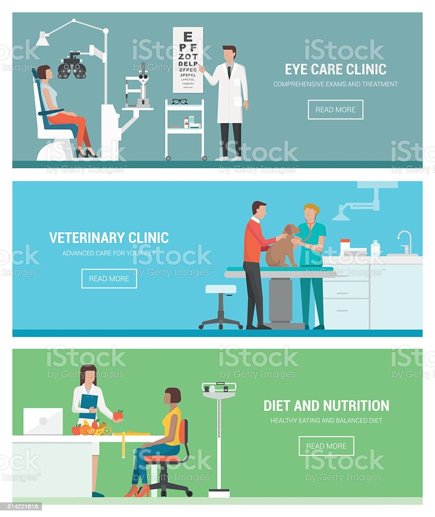 Healthcare and clinics vector art illustration