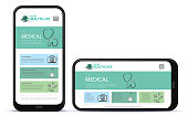 Medical App UI Design for Mobile Devices. Horizontal and Vertical Positions.