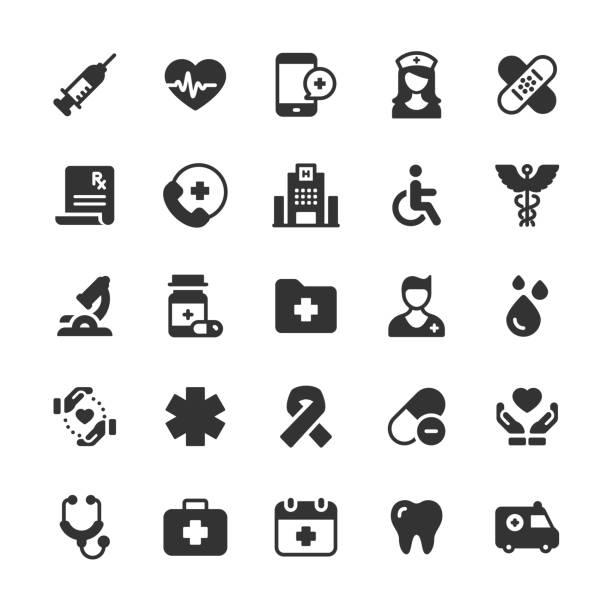 illustrazioni stock, clip art, cartoni animati e icone di tendenza di healthcare and medical glyph icons. pixel perfect. for mobile and web. contains such icons as brain, nurse, syringe, charity, hospital. - farmaco su prescrizione