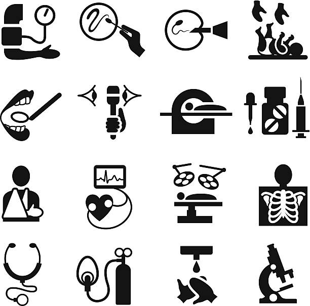 Healthcare and Medical Icon Set Healthcare and Medical Icons single colour. radiology stock illustrations
