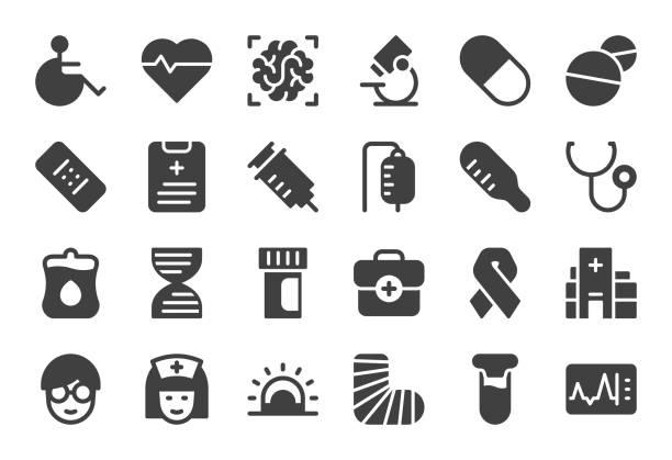 illustrazioni stock, clip art, cartoni animati e icone di tendenza di healthcare and medical icons - gray series - scheda clinica