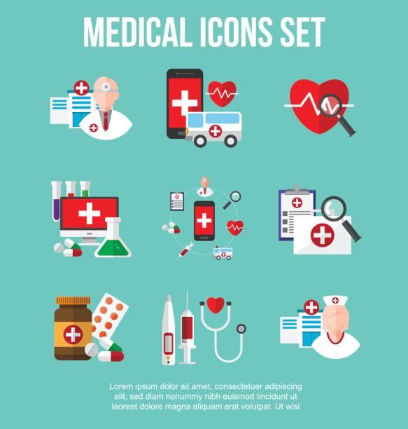 健康・医療のアイコンを設定します。インフォ グラフィック デザイン要素。ベクトル イラスト。 - 健康のインフォグラフィック点のイラスト素材/クリップアート素材/マンガ素材/アイコン素材