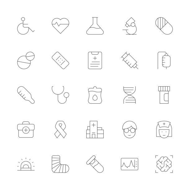 illustrazioni stock, clip art, cartoni animati e icone di tendenza di healthcare and medical icons - ultra thin line series - scheda clinica